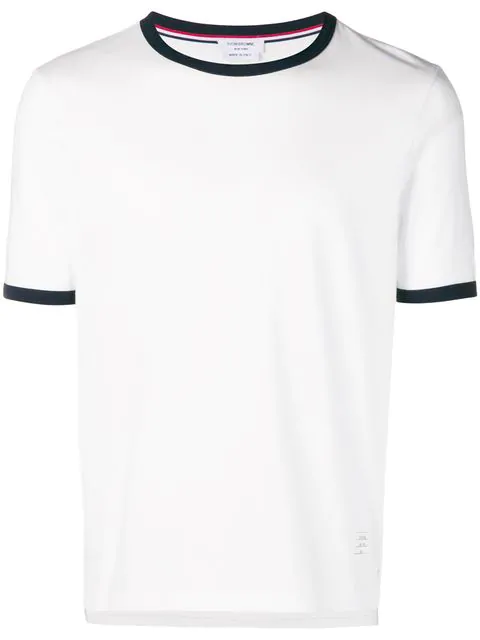 Thom Browne Contrast-tipped Cotton-jersey T-shirt In White