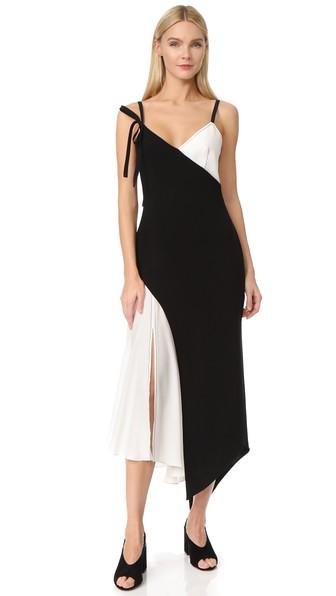 Cinq À Sept Kaidin Two-tone Sleeveless Midi Dress, Black/ivory