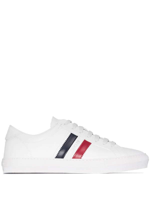 Moncler New Monaco Sneakers In White With Logo