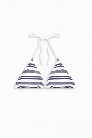 Heidi Klein Martha's Vineyard Striped Halterneck Bikini Top In Blue Stripe