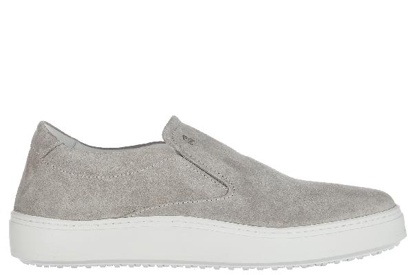 Hogan Men's Suede Slip On Sneakers  H302 In Grey