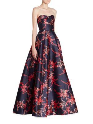 Oscar De La Renta Strapless Silk & Cotton Sweatheart Ball Gown In Navy-red