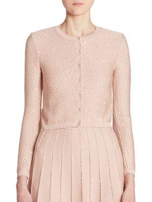 Oscar De La Renta Sequined Knit Cardigan, Rose Gold