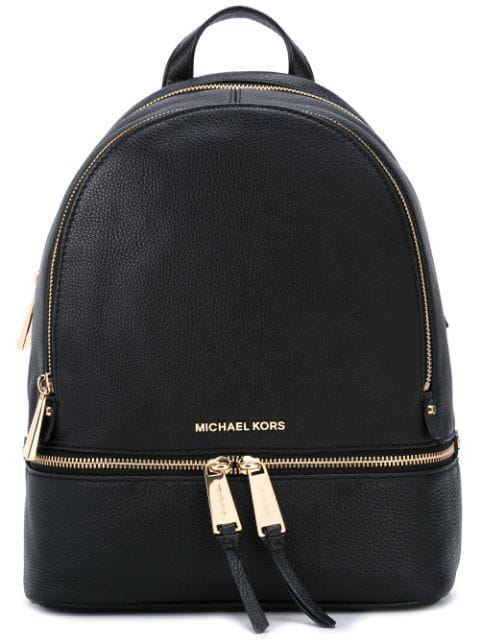 Michael Michael Kors 'small Rhea Zip' Leather Backpack In Black