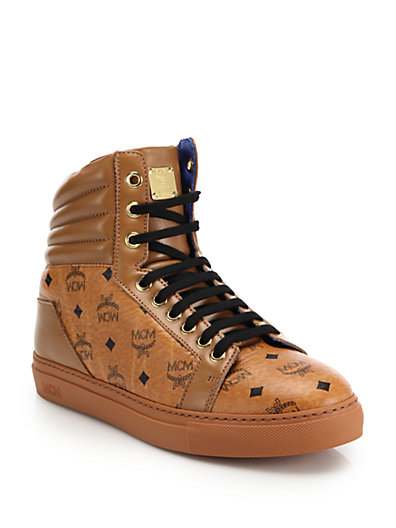 Mcm Coated Canvas & Leather High Top Sneaker (women) In Cognac