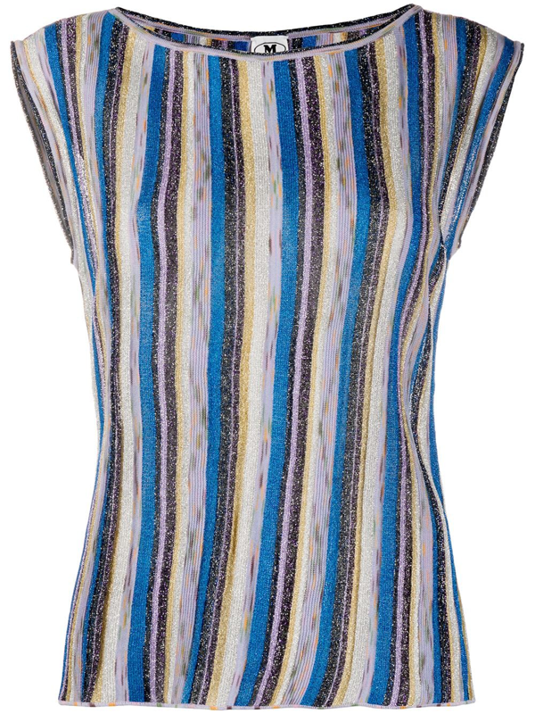 M Missoni Lamé Knitted Top In Shades Of Blue And Purple