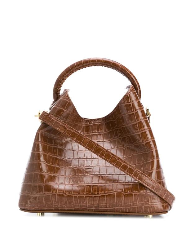 Elleme Baozi Brown Crocodile-effect Leather Cross-body Bag
