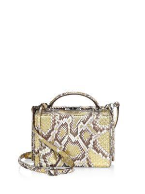 Mark Cross Grace Metallic Python Shoulder Bag In Gold