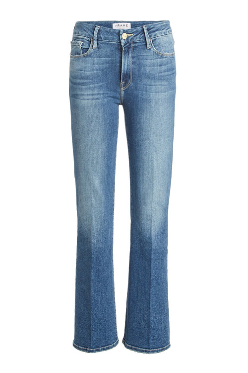 Frame Cropped Bootcut Jeans In Blue
