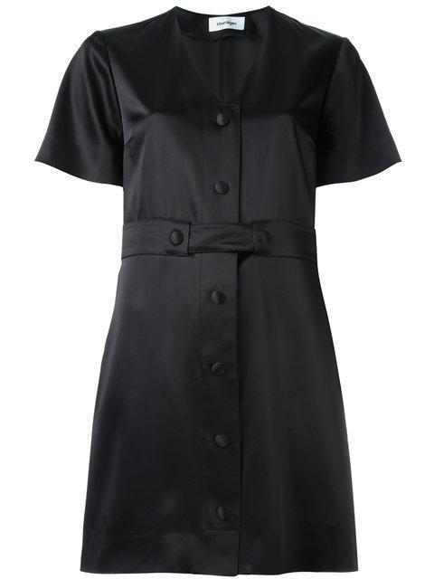 CourrÈges V-neck Shirt Dress - Black