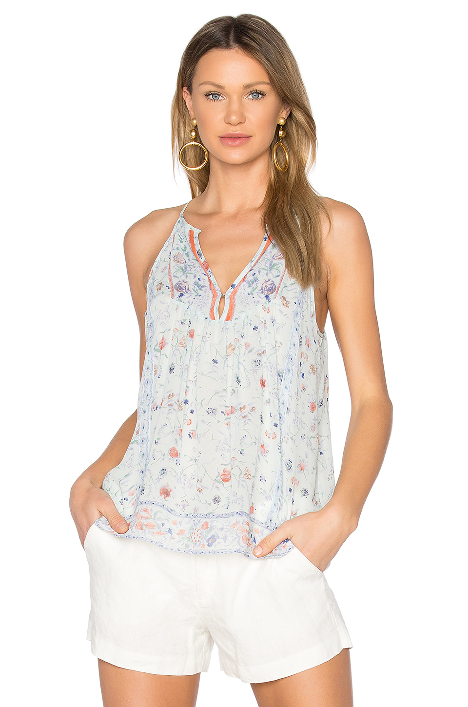 Joie Trey Floral Print Silk Top In Blue
