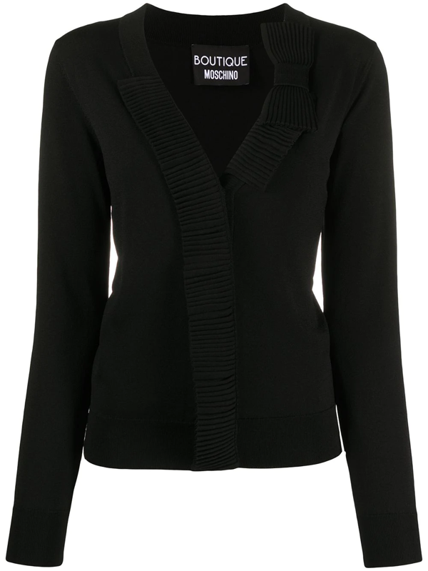 Boutique Moschino Ribbed Trim Bow Cardigan In Black