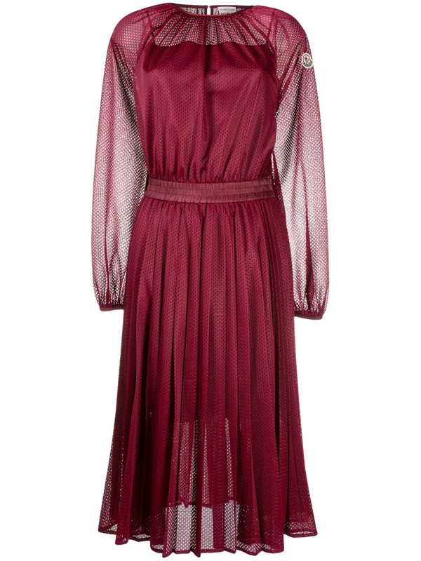 Moncler Perforated Pleated Midi Dress In Red