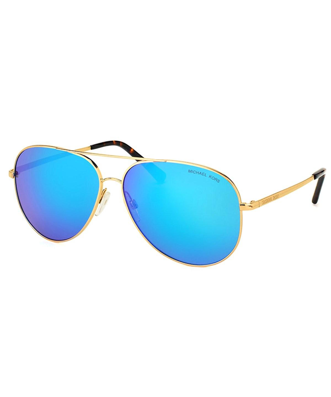 Michael Kors Hvar Aviator Metal Sunglasses In Gold Blue