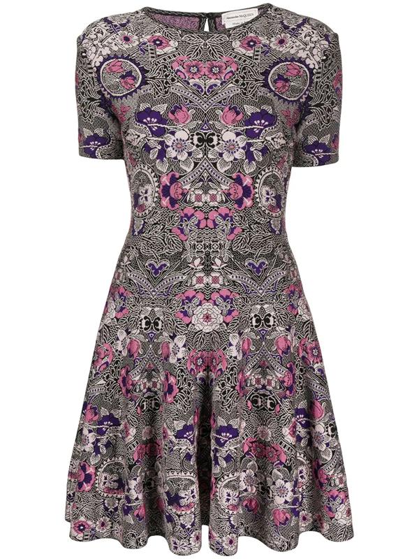 Alexander Mcqueen Art Nouveau Jacquard Mini Dress In Pink