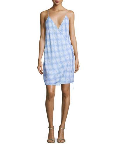Diane Von Furstenberg Printed Tie-side Slip Dress, Blue