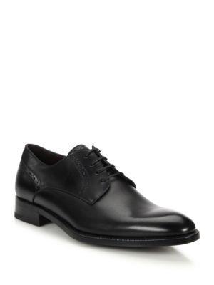 Ermenegildo Zegna Plain-toe Leather Derby Shoe In Black