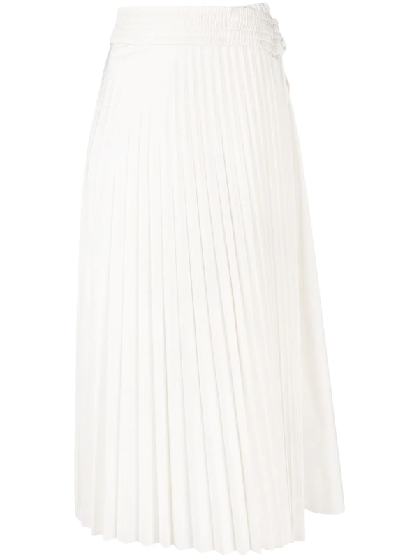 Moncler Tie-fastening Pleated Skirt In White