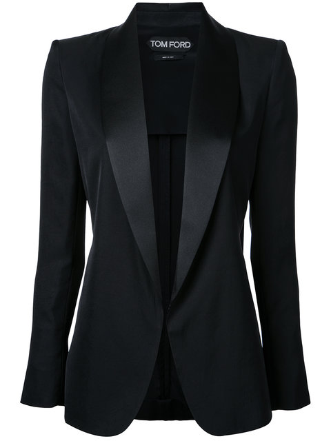 Tom Ford Light Washed Twill Uncanvassed Tuxedo Jacket In Black