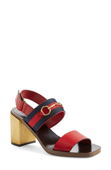 c75542334e3 Gucci  Querelle  Horsebit Slingback Sandal (Women) In Hibiscus Red Suede