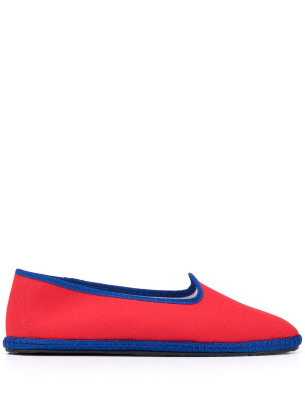 Vibi Venezia Canvas Flat Loafers In Red