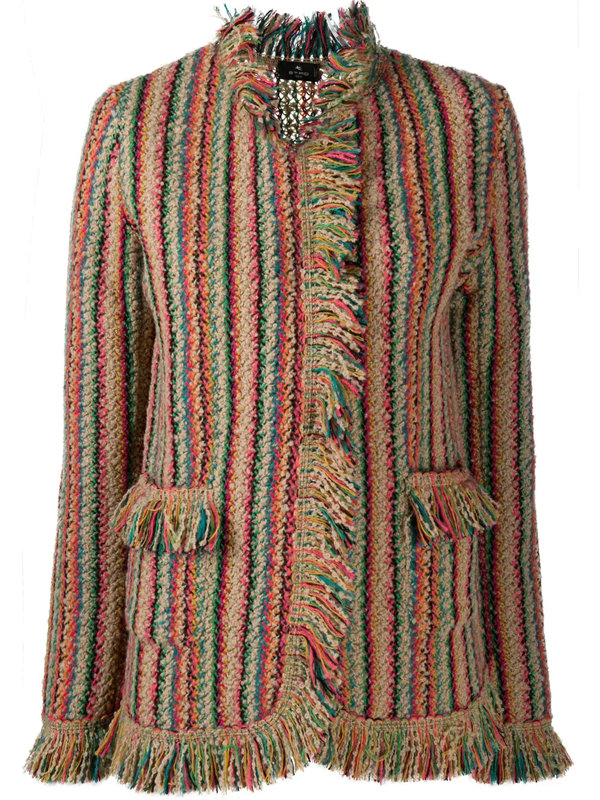 Etro Fringed Striped Knitted Cardigan In Beige