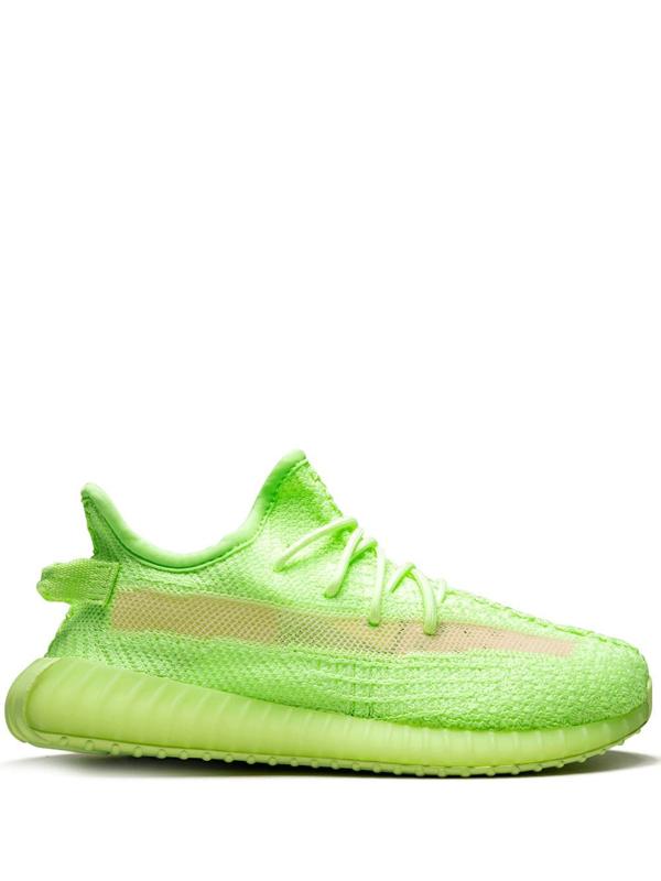 "Adidas Originals Yeezy Boost 350 V2 Gid Kids ""glow In The Dark"" In Green"