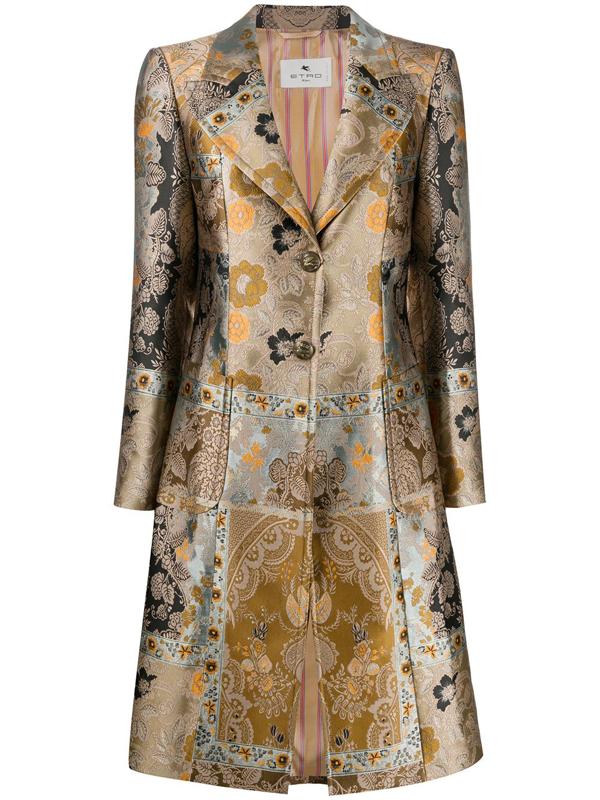 Etro Morgan Single-breasted Metallic-jacquard Coat In Brown