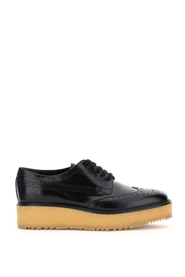 Prada Derby Brogue Lace In Black