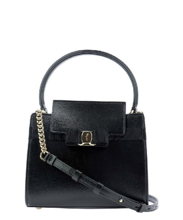 Salvatore Ferragamo Small Vara Shoulder Bag In Black