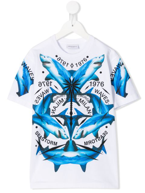 Marcelo Burlon County Of Milan Kids' Shark Print T-shirt In White