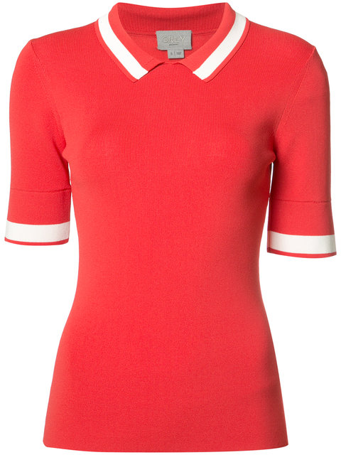 Grey Jason Wu Knit Polo Shirt In Cadmium Red
