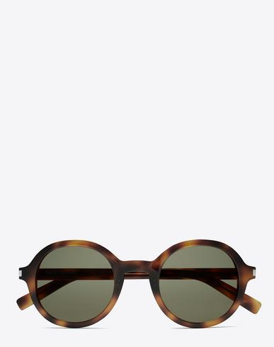 Saint Laurent Classic 161 Slim Sunglasses In Shiny Medium Havana Acetate With Green Lenses