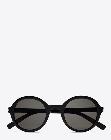 Saint Laurent Classic 161 Slim Sunglasses In Shiny Black Acetate With Smoke Lenses