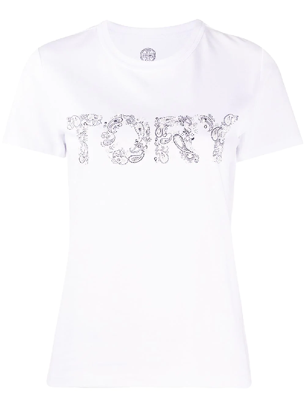 "Tory Burch ""tory Paisley"" T-shirt In White"