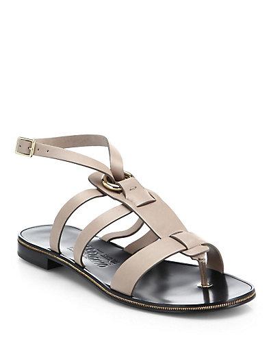 Salvatore Ferragamo Fiamma Strappy Leather Sandals In Black