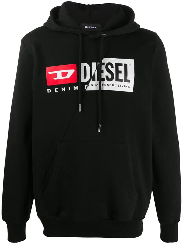Diesel S-girk-hood-cuty Overhead Hooded Sweatshirt In Black