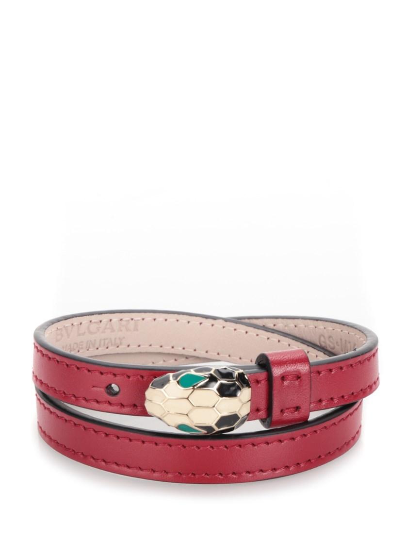 Bulgari Double Coiled Bracelet 'serpenti Forever' In Red