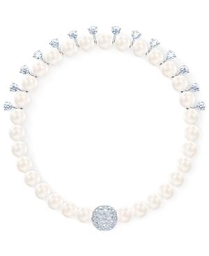 Swarovski Silver-tone Crystal & Imitation Pearl Magnetic Flex Bracelet In White