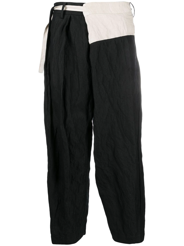 Ziggy Chen Colour-block Cropped Trousers In Black