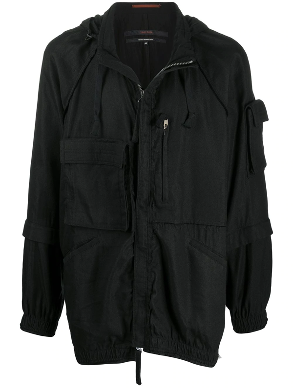 Ziggy Chen Hooded Layered-sleeve Jacket In Black