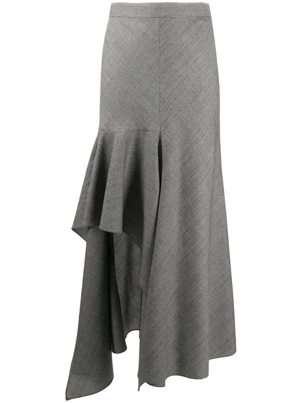 Alexander Mcqueen Check-pattern Asymmetric Skirt In Black