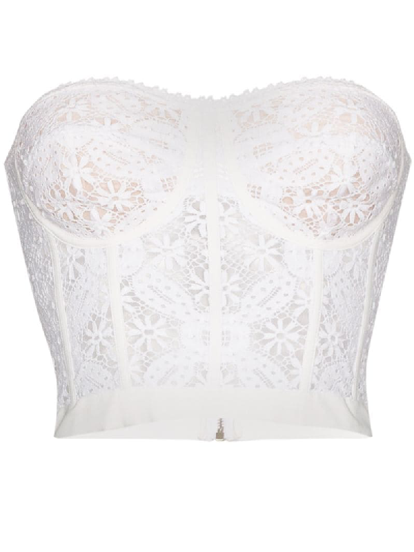 Alexander Mcqueen Endangered Flower Cotton-crochet Bustier Top In White