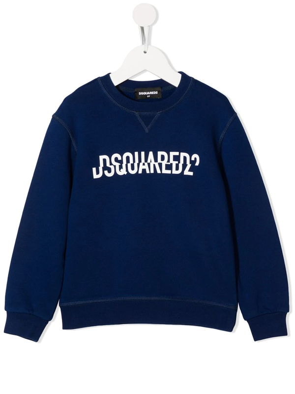 Dsquared2 Kids' Blue Sweatshirt With Frontal Logo