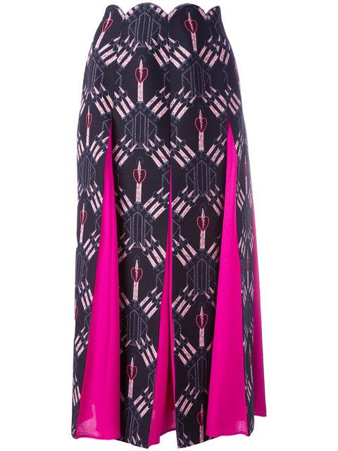 Valentino Woman Love Blades Silk-Paneled Printed Wool-Blend Midi Skirt Black