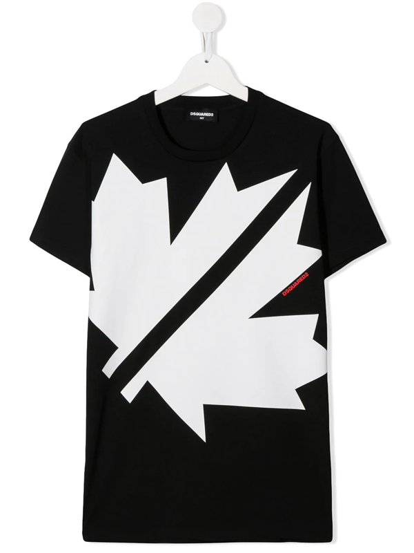 Dsquared2 Kids' Black T-shirt For Boy With Red Logo