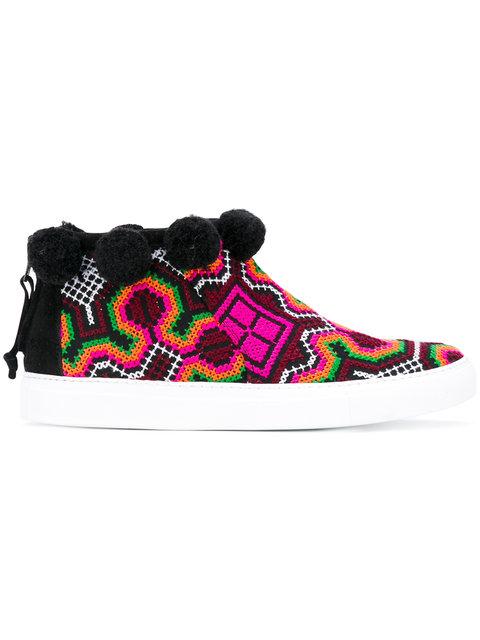 Joshua Sanders Namibia Multicolor Fabric High Top Sneaker In Black