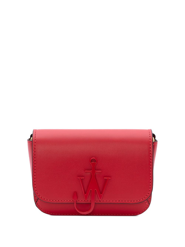 Jw Anderson Anchor Leather Mini Crossbody Bag In Red