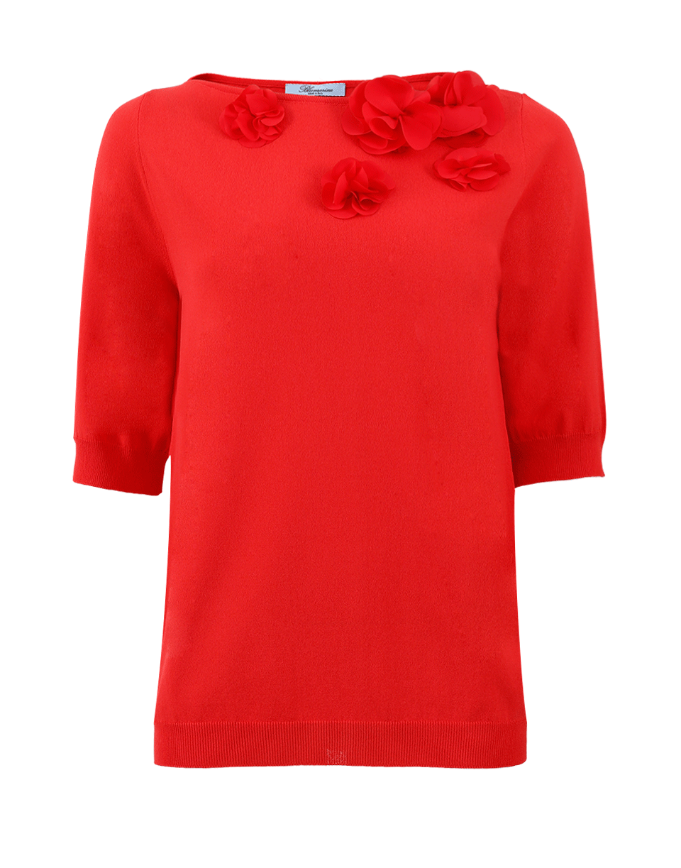 Blumarine Floral Knit Top In Coral