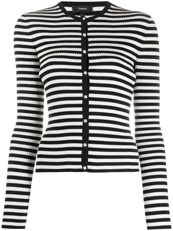 Theory Gal Striped Ribbed Cardigan In Blue